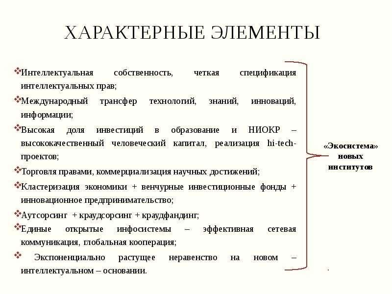 Характерные элементы Интеллектуальная собственность, четкая спецификация интеллектуальных прав; Межд