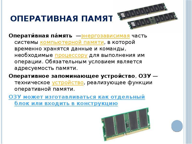 Картинки оперативной памяти и процессора