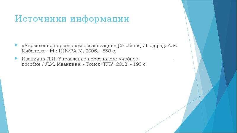 Источники информации «Управление персоналом организации» [Учебник] / Под ред. А. Я. Кибанова. - М. :