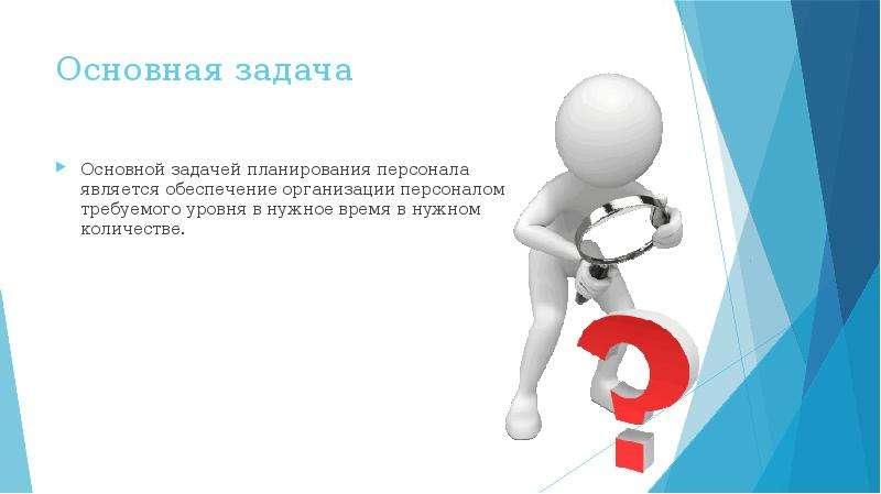 Основная задача Основной задачей планирования персонала является обеспечение организации персоналом