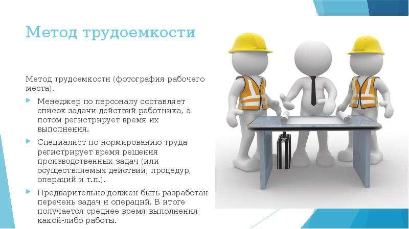 Метод трудоемкости Метод трудоемкости (фотография рабочего места). Менеджер по персоналу составляет