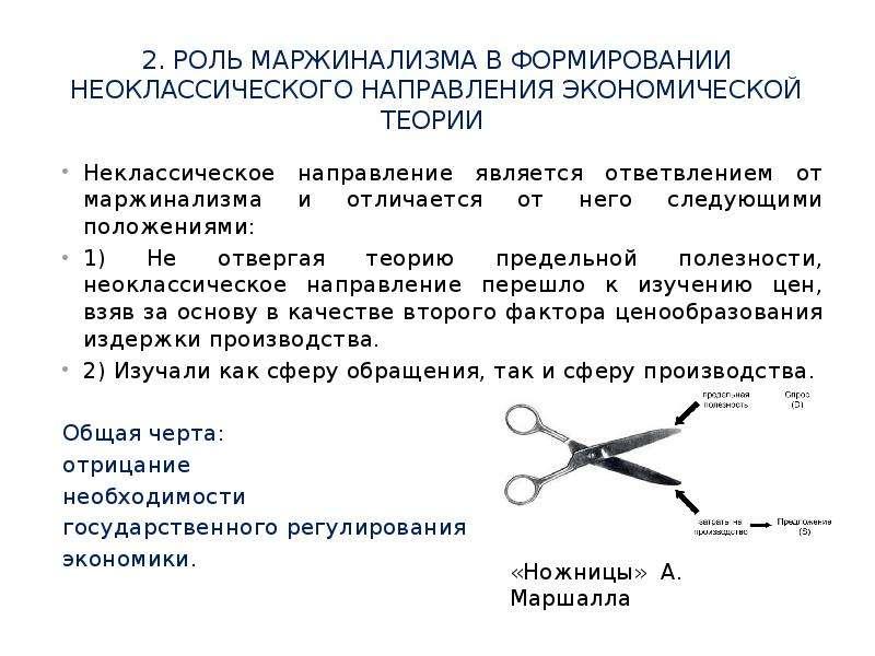 2. роль МаржинализмА в формировании неоклассического направления экономической теории Неклассическое