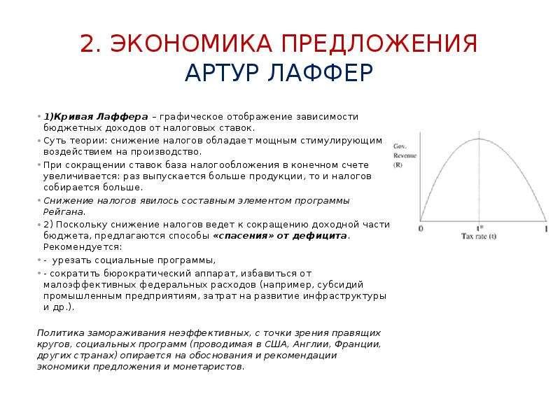 2. ЭконОмика предложения АРТУР Лаффер 1)Кривая Лаффера – графическое отображение зависимости бюджетн