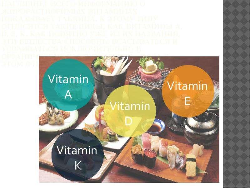 Нагляднее всего информацию о жирорастворимых витаминах показывает таблица. К этому типу относятся та