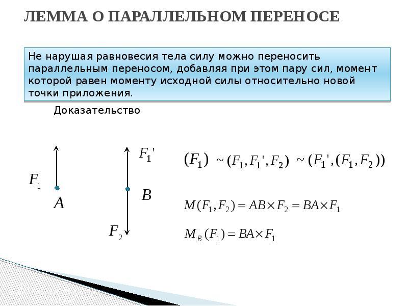 ЛЕММА О ПАРАЛЛЕЛЬНОМ ПЕРЕНОСЕ