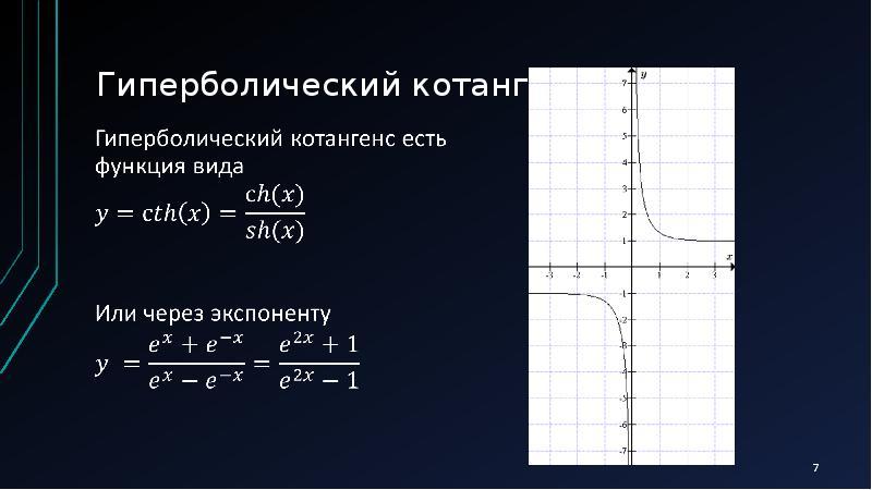 Элементарные функции. Гиперболические тангенс и котангенс, слайд 7