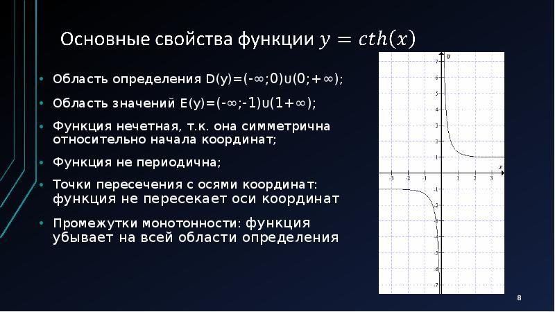 Элементарные функции. Гиперболические тангенс и котангенс, слайд 8
