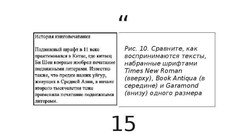 Рис. 10. Сравните, как воспринимаются тексты, набранные шрифтами Times New Roman (вверху), Book Anti