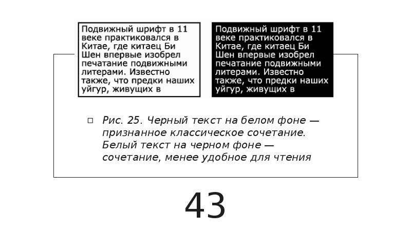 Рис. 25. Черный текст на белом фоне — признанное классическое сочетание. Белый текст на черном фоне