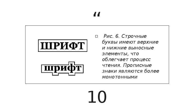 Рис. 6. Строчные буквы имеют верхние и нижние выносные элементы, что облегчает процесс чтения. Пропи