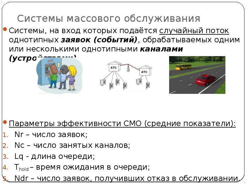 Системы массового обслуживания Системы, на вход которых подаётся случайный поток однотипных заявок (