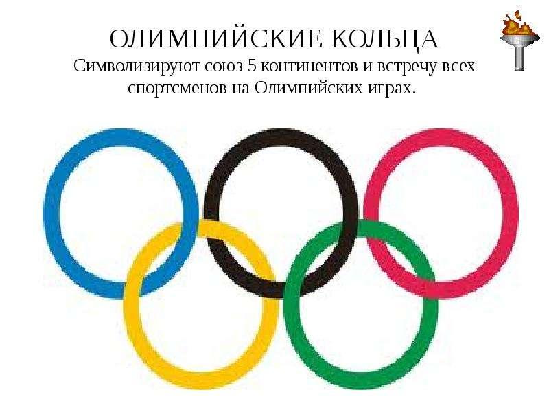 ОЛИМПИЙСКИЕ КОЛЬЦА Символизируют союз 5 континентов и встречу всех спортсменов на Олимпийских играх.