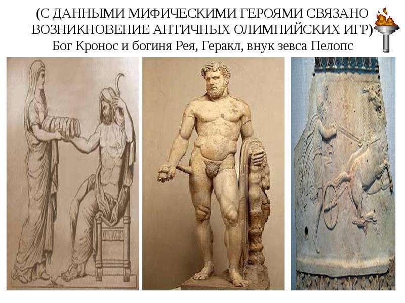 (С ДАННЫМИ МИФИЧЕСКИМИ ГЕРОЯМИ СВЯЗАНО ВОЗНИКНОВЕНИЕ АНТИЧНЫХ ОЛИМПИЙСКИХ ИГР) Бог Кронос и богиня Р