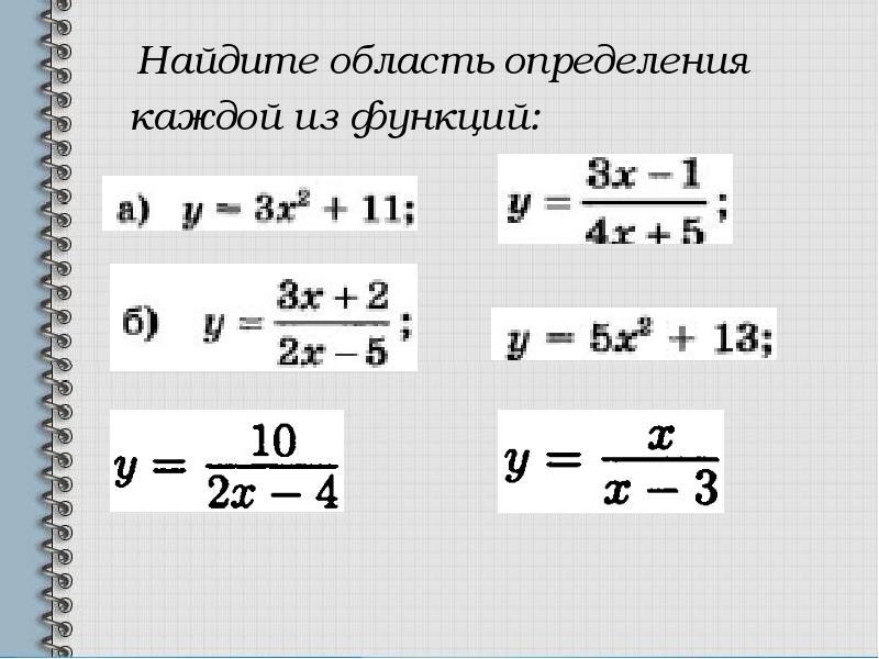 Найдите область определения Найдите область определения каждой из функций: