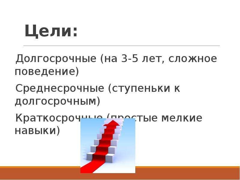 Цели: Долгосрочные (на 3-5 лет, сложное поведение) Среднесрочные (ступеньки к долгосрочным) Краткоср