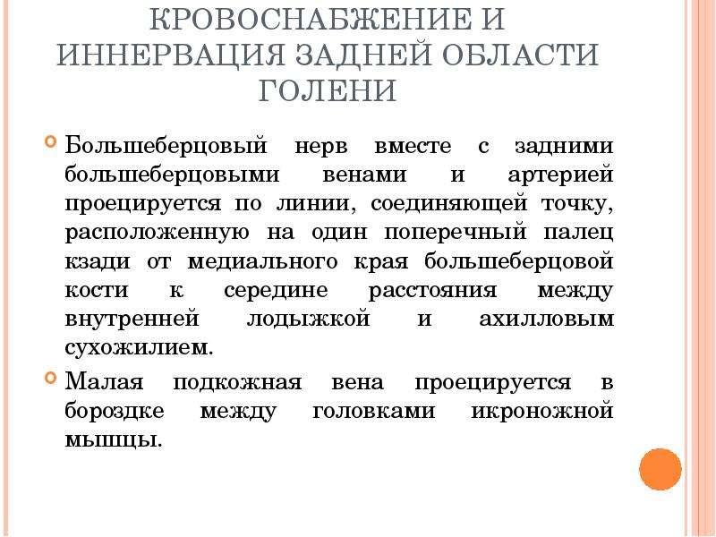 КРОВОСНАБЖЕНИЕ И ИННЕРВАЦИЯ ЗАДНЕЙ ОБЛАСТИ ГОЛЕНИ Большеберцовый нерв вместе с задними большеберцовы