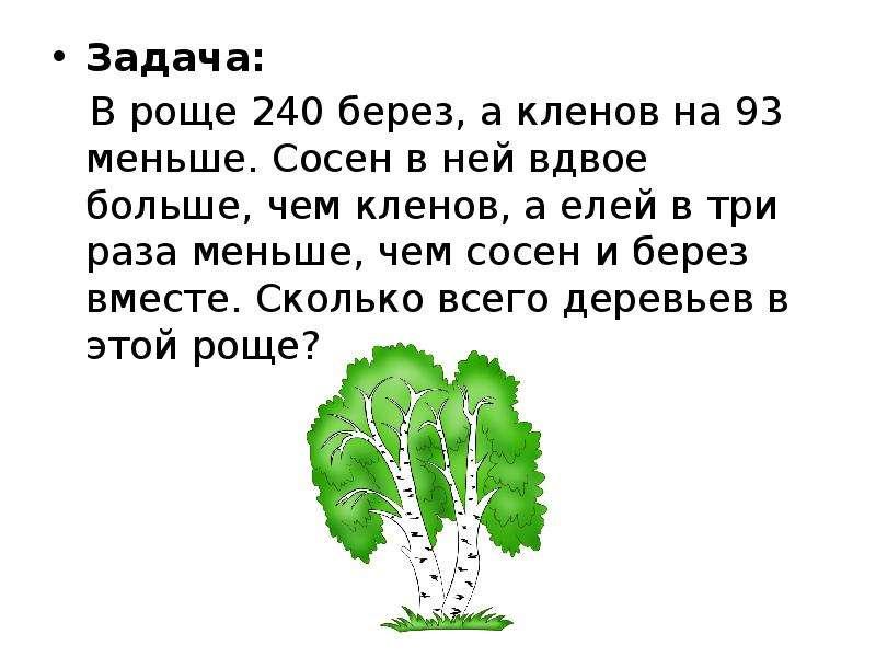 Задача: Задача: В роще 240 берез, а кленов на 93 меньше. Сосен в ней вдвое больше, чем кленов, а еле