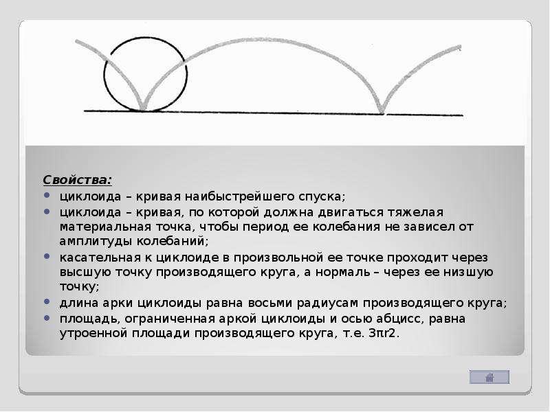 Свойства: Свойства: циклоида – кривая наибыстрейшего спуска; циклоида – кривая, по которой должна дв