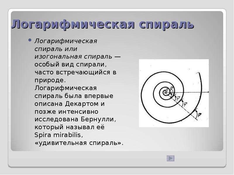 Логарифмическая спираль Логарифмическая спираль или изогональная спираль — особый вид спирали, часто