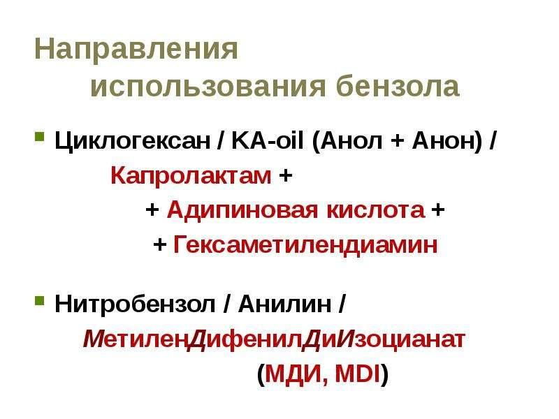 Направления использования бензола Циклогексан / KA-oil (Анол + Анон) / Капролактам + + Адипиновая ки