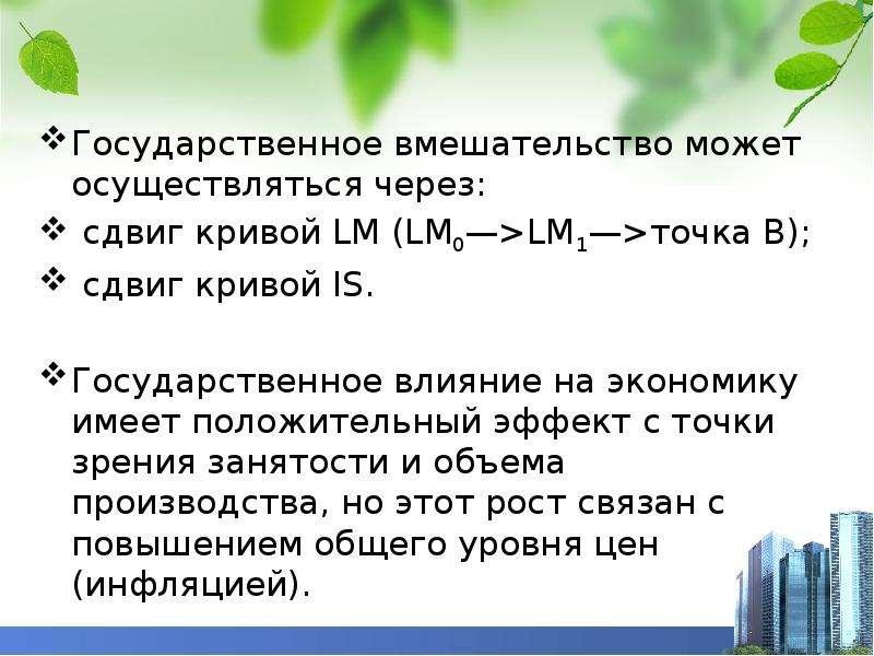 Государственное вмешательство может осуществляться через: сдвиг кривой LM (LM0—>LM1—>точка В);