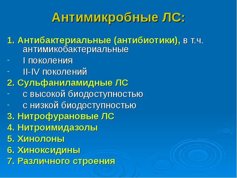 Антимикробные ЛС: 1. Антибактериальные (антибиотики), в т. ч. антимикобактериальные Ι поколения ΙΙ-Ι