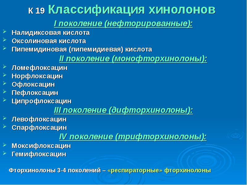 К 19 Классификация хинолонов I поколение (нефторированные): Налидиксовая кислота Оксолиновая кислота