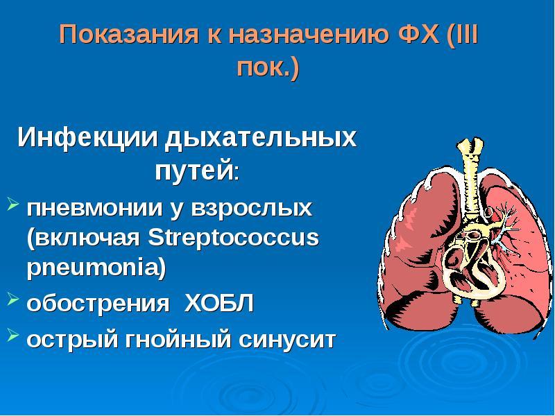 Показания к назначению ФХ (ΙΙΙ пок. ) Инфекции дыхательных путей: пневмонии у взрослых (включая Stre