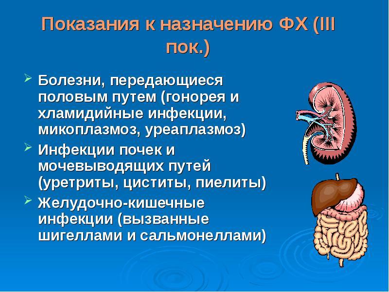 Показания к назначению ФХ (ΙΙΙ пок. ) Болезни, передающиеся половым путем (гонорея и хламидийные инф