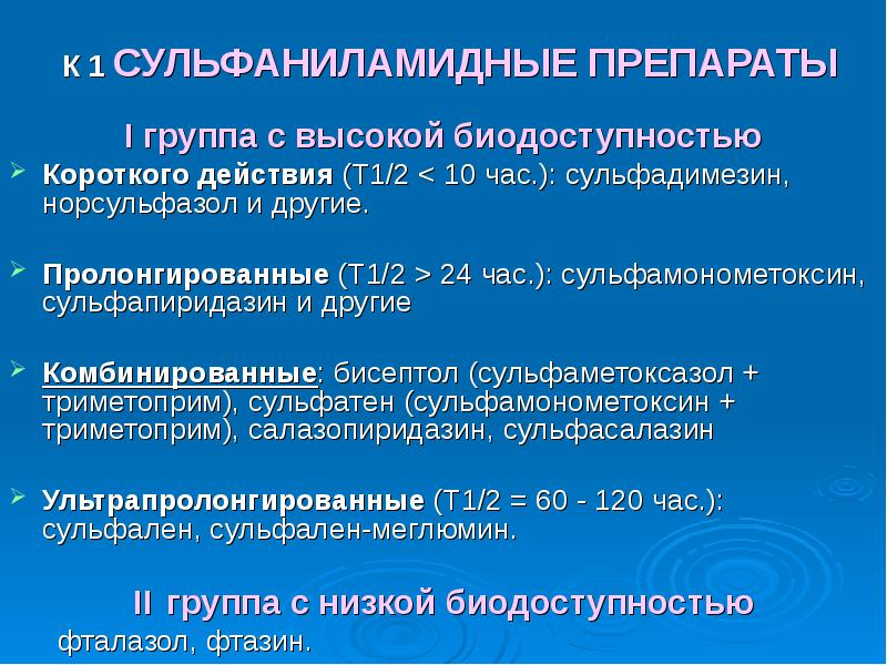 К 1 СУЛЬФАНИЛАМИДНЫЕ ПРЕПАРАТЫ I группа с высокой биодоступностью Короткого действия (T1/2 < 10 ч