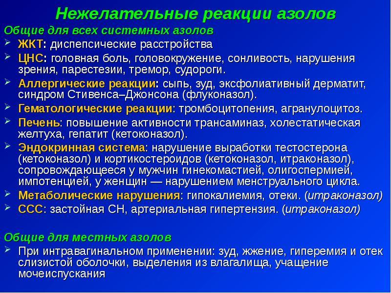 Нежелательные реакции азолов Нежелательные реакции азолов Общие для всех системных азолов ЖКТ: диспе