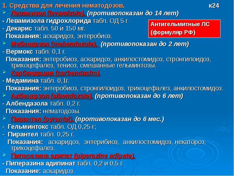 1. Средства для лечения нематодозов. к24 Левамизол (levamizole). (противопоказан до 14 лет) - Левами