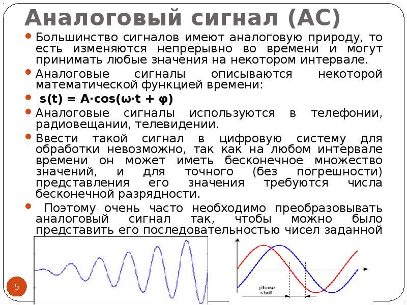 Аналоговый сигнал (АС) Большинство сигналов имеют аналоговую природу, то есть изменяются непрерывно