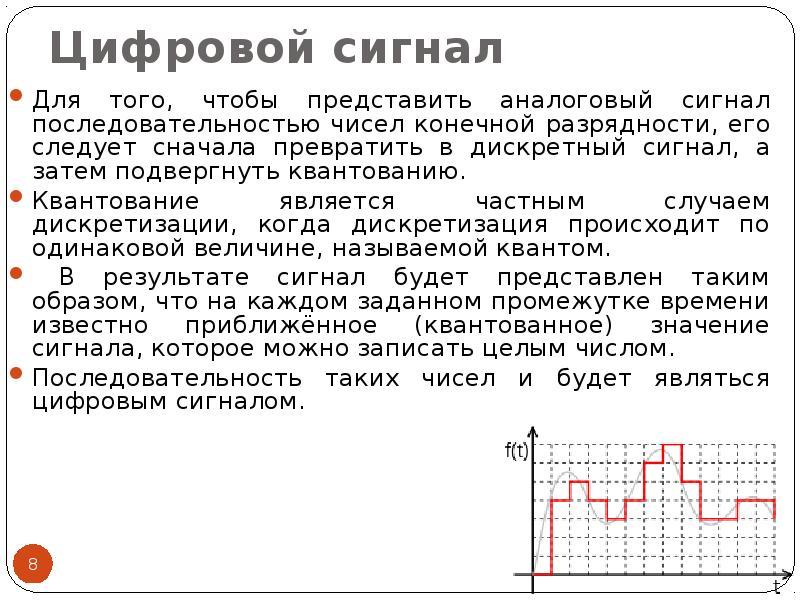 Цифровой сигнал Для того, чтобы представить аналоговый сигнал последовательностью чисел конечной раз