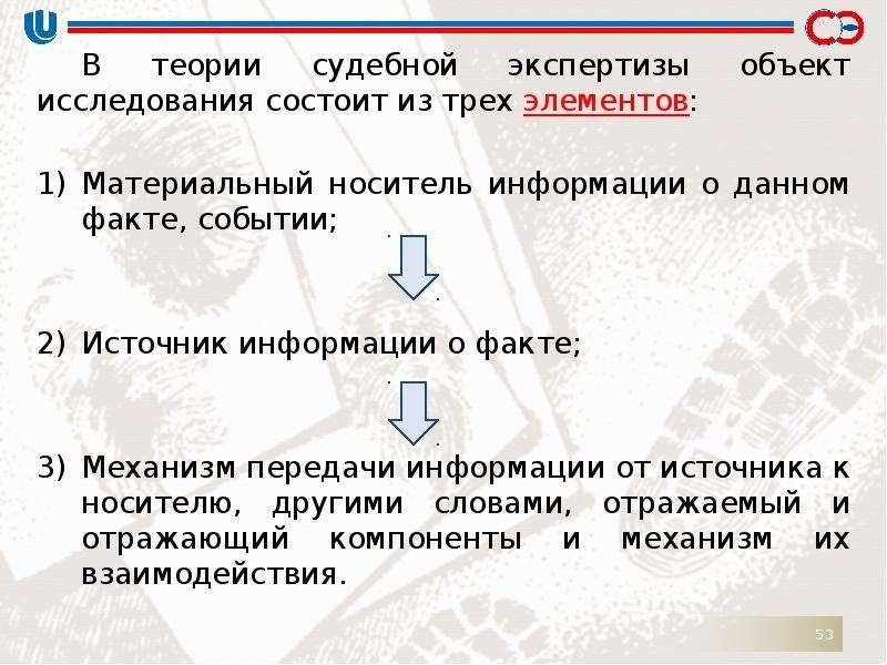 В теории судебной экспертизы объект исследования состоит из трех элементов: В теории судебной экспер