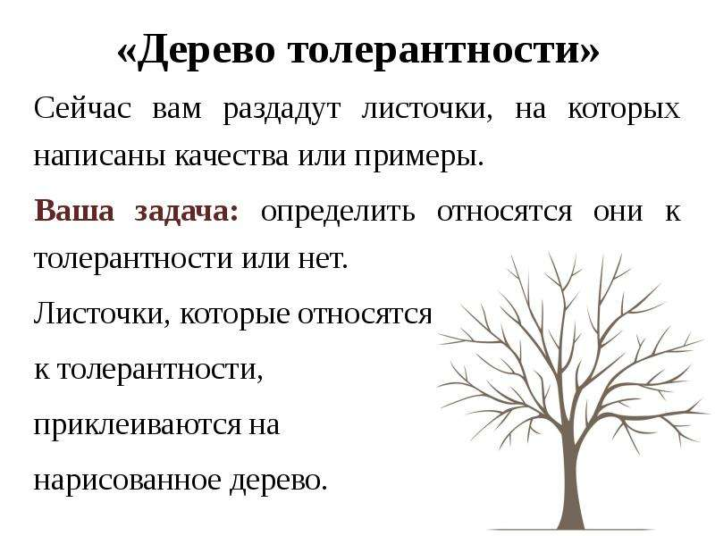 «Дерево толерантности» Сейчас вам раздадут листочки, на которых написаны качества или примеры. Ваша