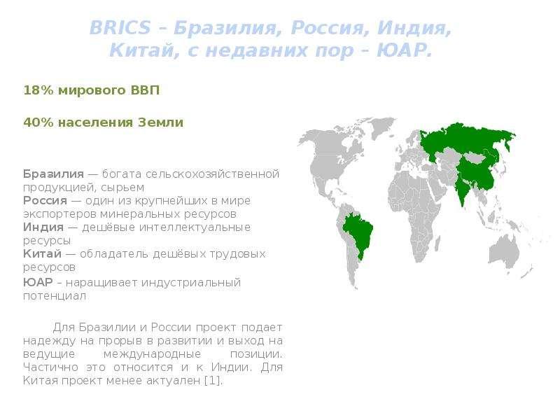 18% мирового ВВП 40% населения Земли Бразилия — богата сельскохозяйственной продукцией, сырьем Росси