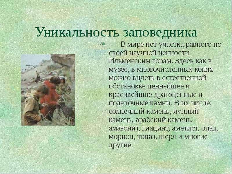 Уникальность заповедника В мире нет участка равного по своей научной ценности Ильменским горам. Здес