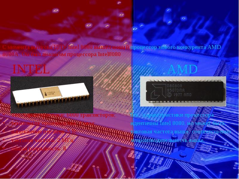С момента выпуска ЦПУ Intel 8080 вышел новый процессор нового конкурента AMD 8080A. Он был аналогом