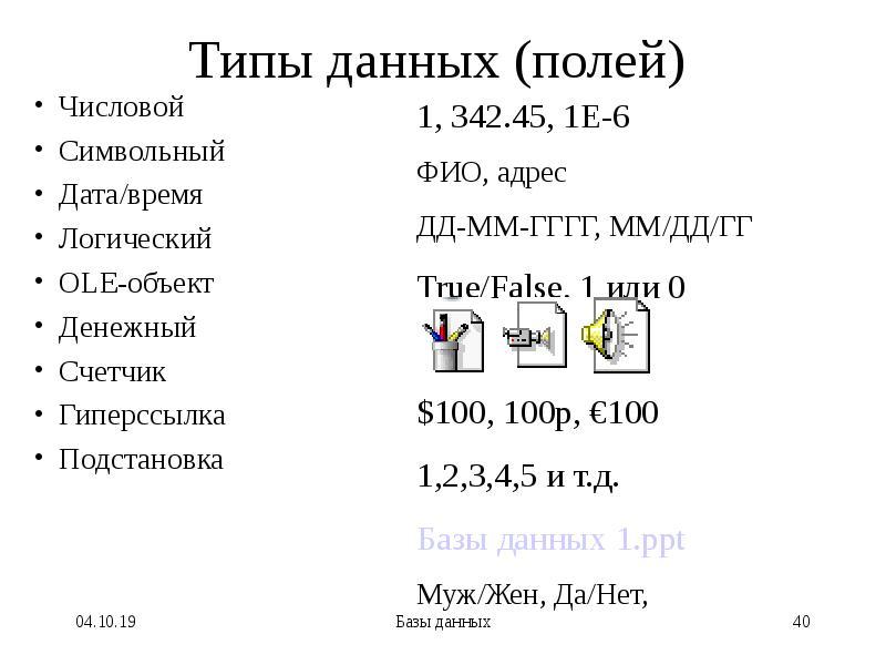 Типы данных (полей) Числовой Символьный Дата/время Логический OLE-объект Денежный Счетчик Гиперссылк