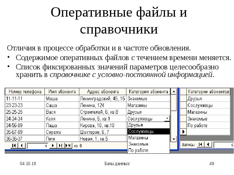 Оперативные файлы и справочники Отличия в процессе обработки и в частоте обновления. Содержимое опер