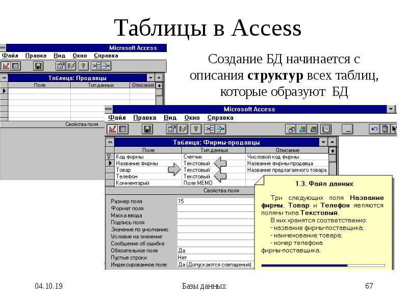 Таблицы в Access