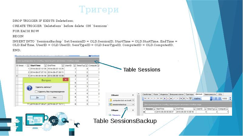 Тригери DROP TRIGGER IF EXISTS DeleteSess; CREATE TRIGGER `DeleteSess` before delete ON `Sessions` F