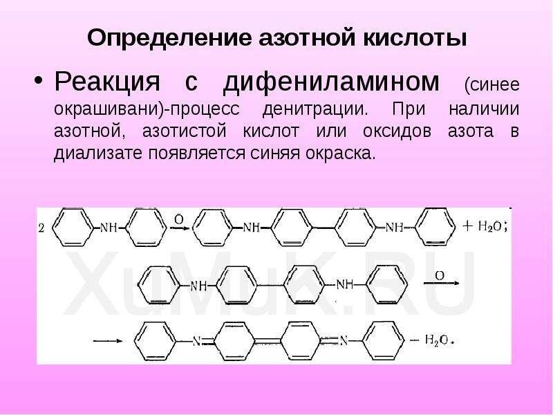 Определение азотной кислоты Реакция с дифениламином (синее окрашивани)-процесс денитрации. При налич