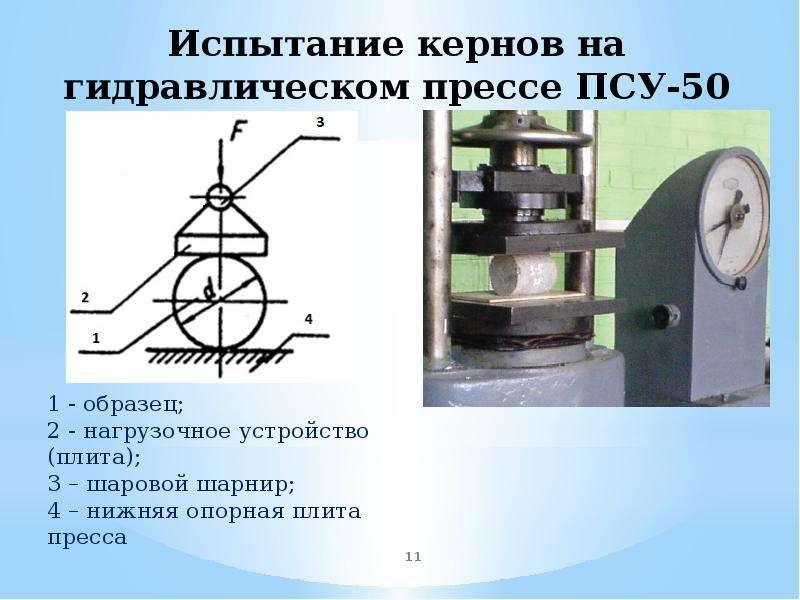 Испытание кернов на гидравлическом прессе ПСУ-50