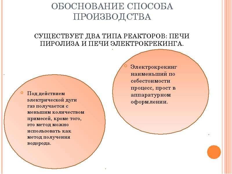 ОБОСНОВАНИЕ СПОСОБА ПРОИЗВОДСТВА СУЩЕСТВУЕТ ДВА ТИПА РЕАКТОРОВ: ПЕЧИ ПИРОЛИЗА И ПЕЧИ ЭЛЕКТРОКРЕКИНГА