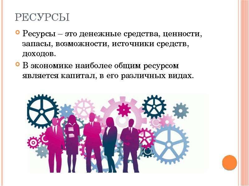 Ресурсы Ресурсы – это денежные средства, ценности, запасы, возможности, источники средств, доходов.