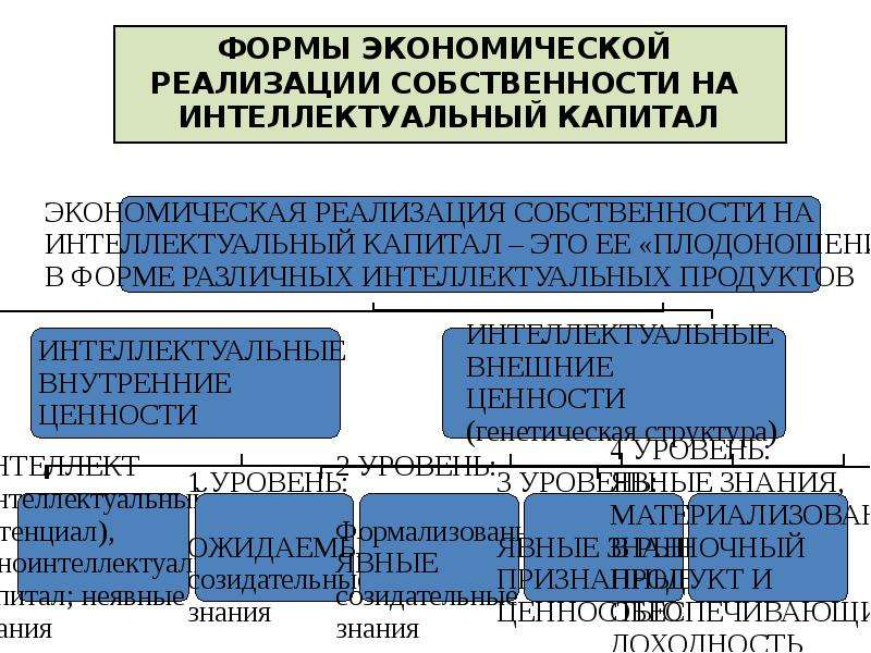 ФОРМЫ ЭКОНОМИЧЕСКОЙ РЕАЛИЗАЦИИ СОБСТВЕННОСТИ НА ИНТЕЛЛЕКТУАЛЬНЫЙ КАПИТАЛ