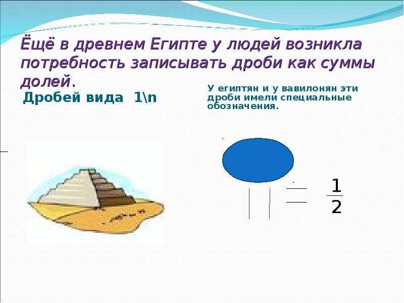Ёщё в древнем Египте у людей возникла потребность записывать дроби как суммы долей. Дробей вида 1\n