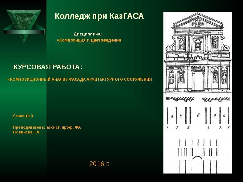 Презентация Композиционный анализ фасада архитектурного сооружения